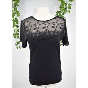 H&M chic black sheer lace blouse top L